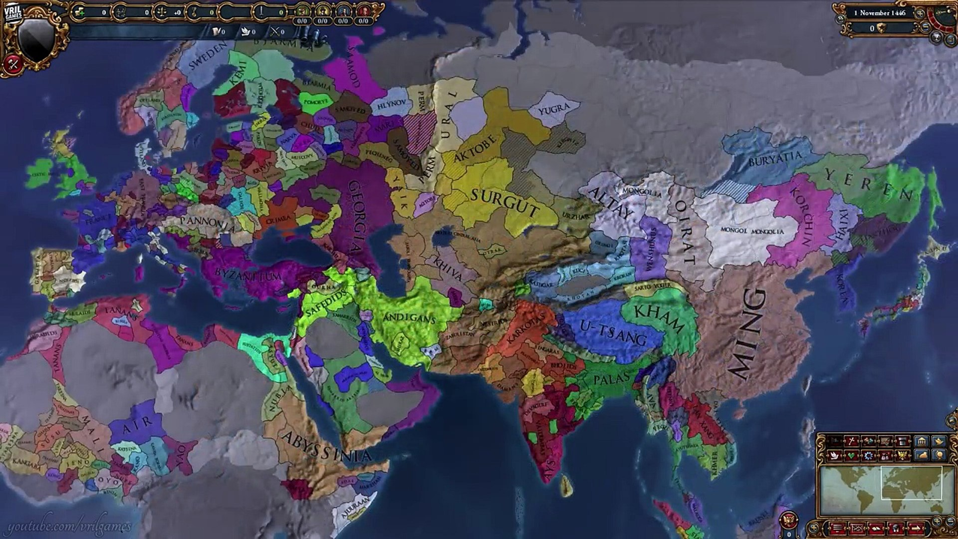 Mega Campaign | CK2 to EU4 to V2 to HoI3 | 769 AD to 1948 AD Timelapse