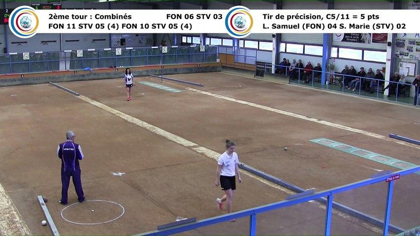 Second tour, premier tir de précision, Club Elite Féminin, J5 play-off, Fontaine contre Saint-Vulbas, janvier 2018