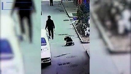 Kid paying on street