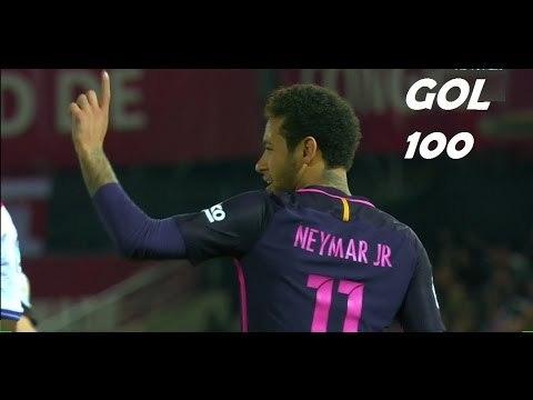 Neymar marca o seu CENTÉSIMO gol pelo Barcelona - Granada 1 x 4 Barcelona - La Liga 02/04/2017