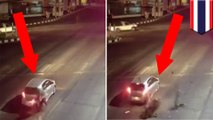CCTV footage shows motorcycle up close and personal with a stopped automobile - TomoNews