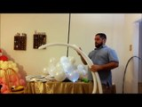 DIY Balloon column with balloon lights and feathers Great Balloon Decoration piece