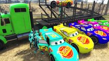 Disney Pixar Cars Colors Lightning McQueen Transportation With Green And Blue Colors Spiderman
