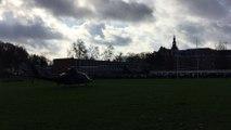 Atterrissage d'un hélicoptère de l'armée à Basse-Wavre