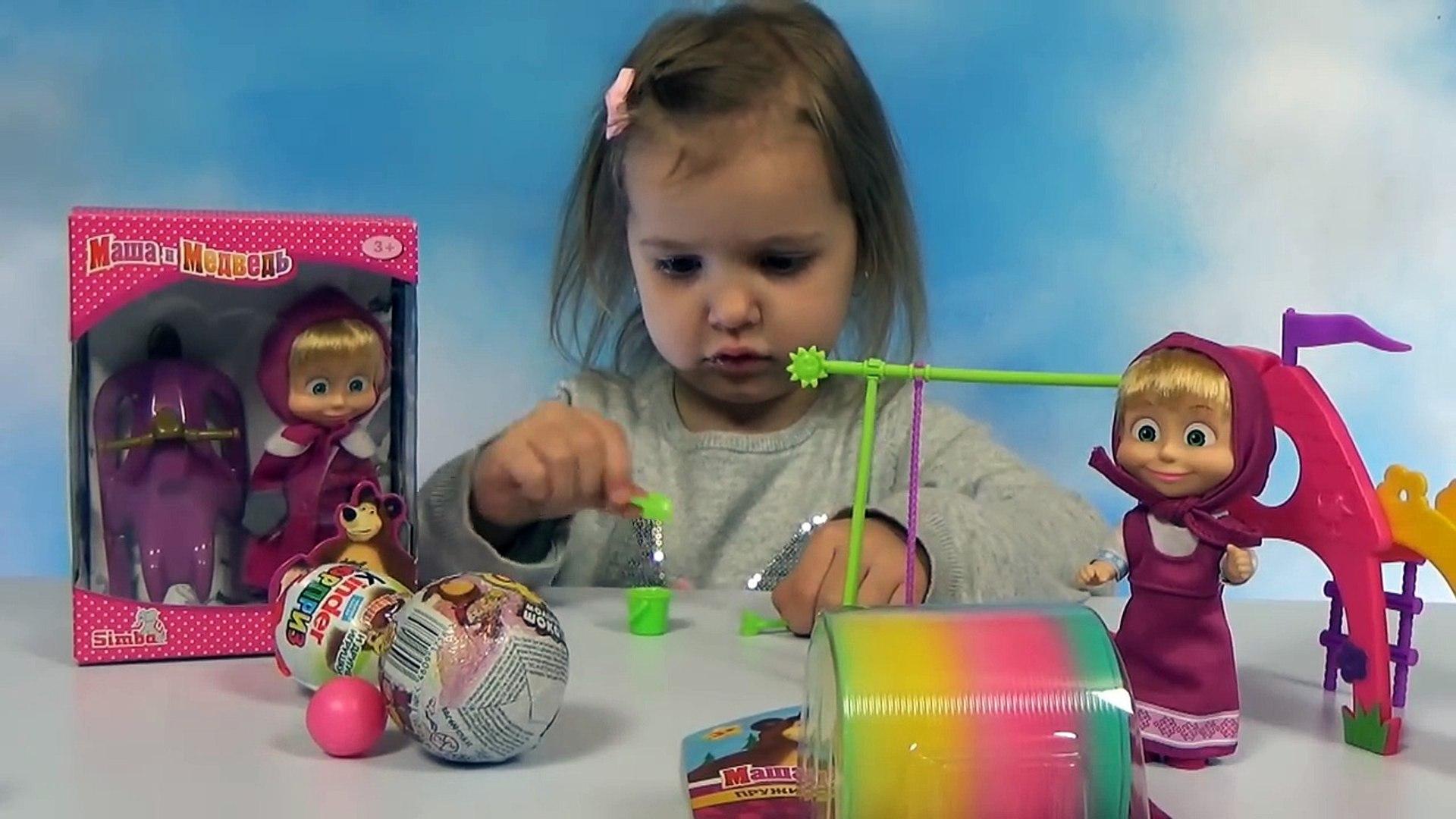 Маша и Медведь распаковка игрушки и игровая площадка с качелей и горкой Masha and the Bear doll toys