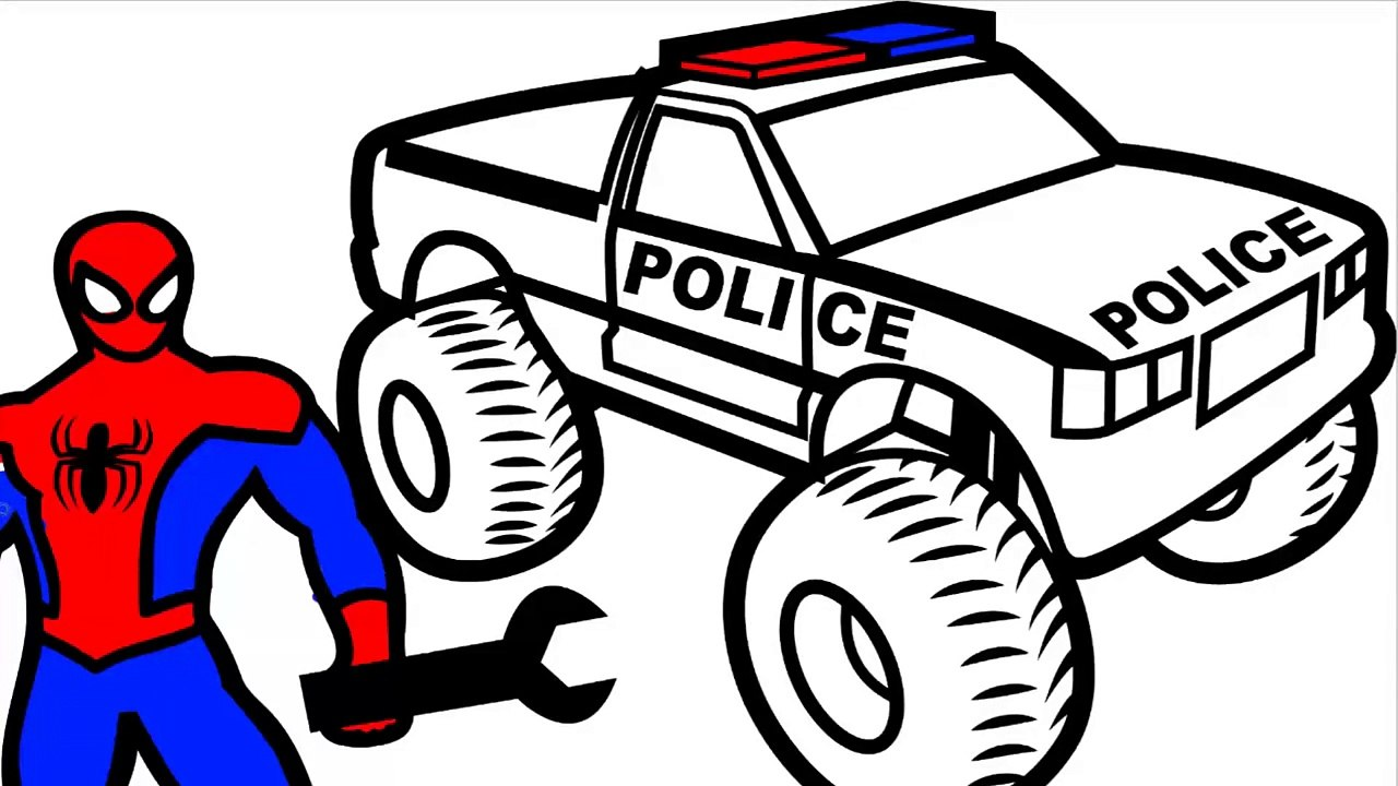 Spiderman Repair Police Monster Truck Coloring Pages for Kids