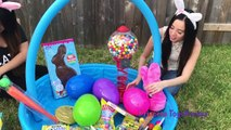 GIANT EASTER BASKET Warheads Extreme Sour Candy Challenge Gummy Chocolate Easter Egg Surprise Toys