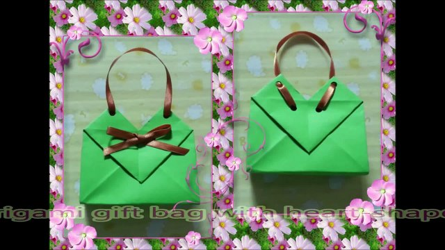 Origami A4 paper gift bag/box with heart-shaped tutorial如何用A4紙摺禮物袋