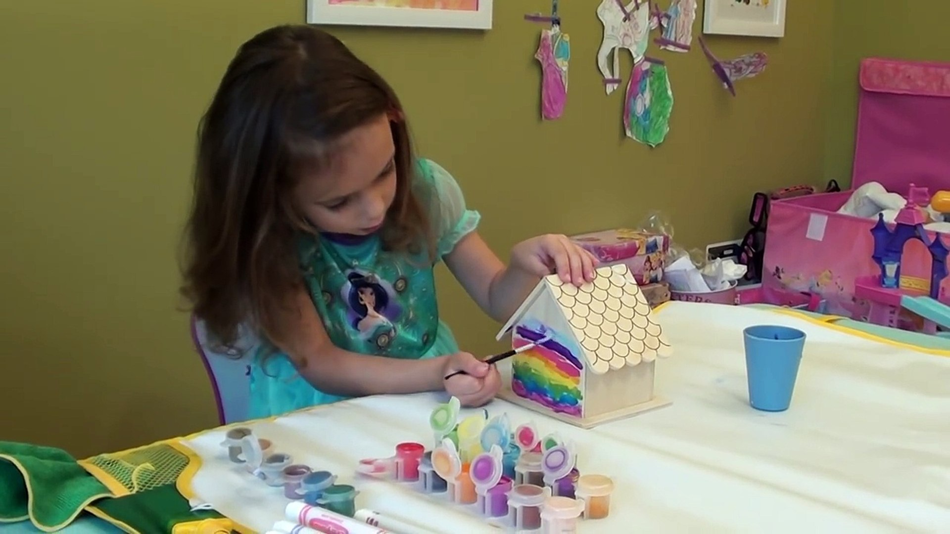 DIY Rainbow Bird House: Kids Art Project - Painting Rainbow Birdhouse Craft for Kids, Kids Video