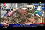 Playas limpias: vecinos, residentes y militares limpian balneario de Pucusana