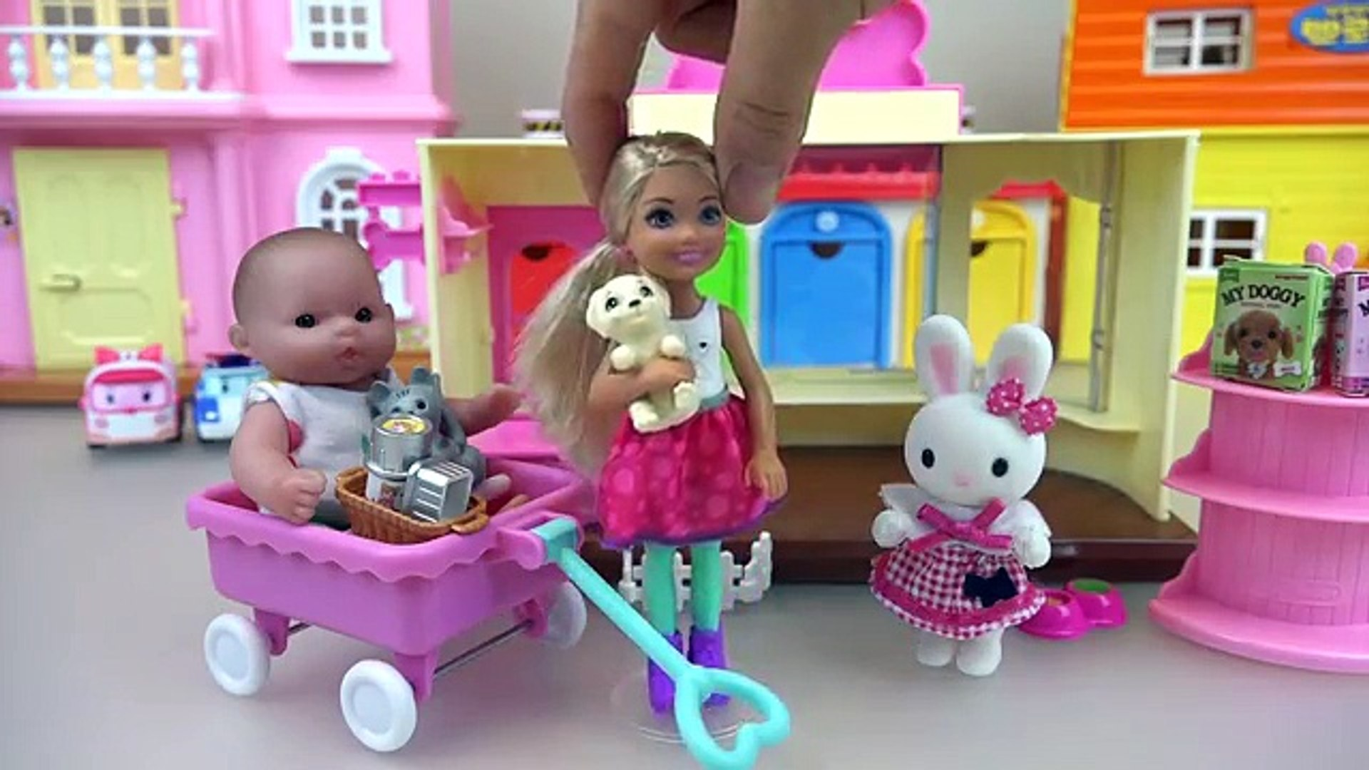 Baby Doll and little dogs Rabbit pet shop toys