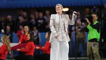 P!nk sings the National Anthem at Super Bowl LII