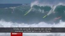 Surfistas ignoram advertência das autoridades para pegar ondas gigantes no Havaí