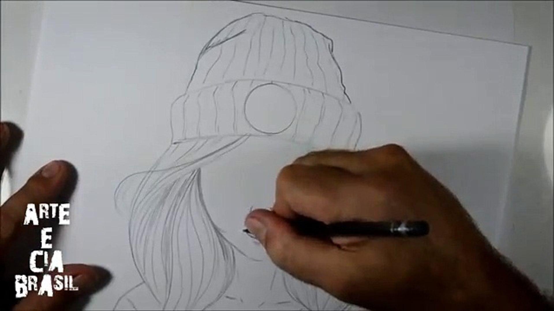 Como Desenhar Garota Com Toca Tumblr Passo A Passo