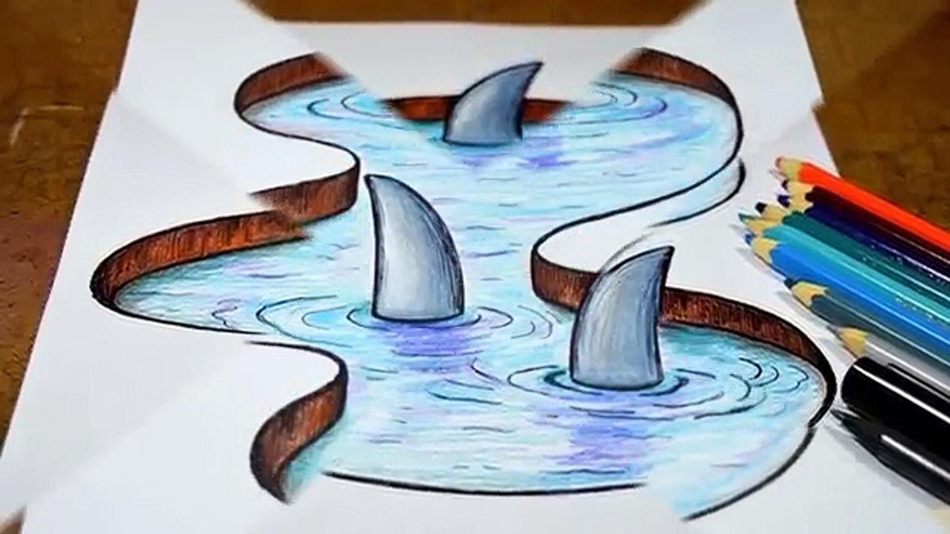 Como Desenhar Lago Com Tubarões Efeito 3d