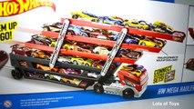 Hot Wheels GIANT Mega Hauler Transporter Truck Holds 50 Cars! Matchbox Gift Set and More