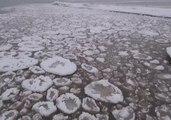 Ice Breaks Against Lake Ontario Shore in New York