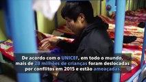 Mais de 28 milhões de crianças foram deslocadas por conflitos em 2015