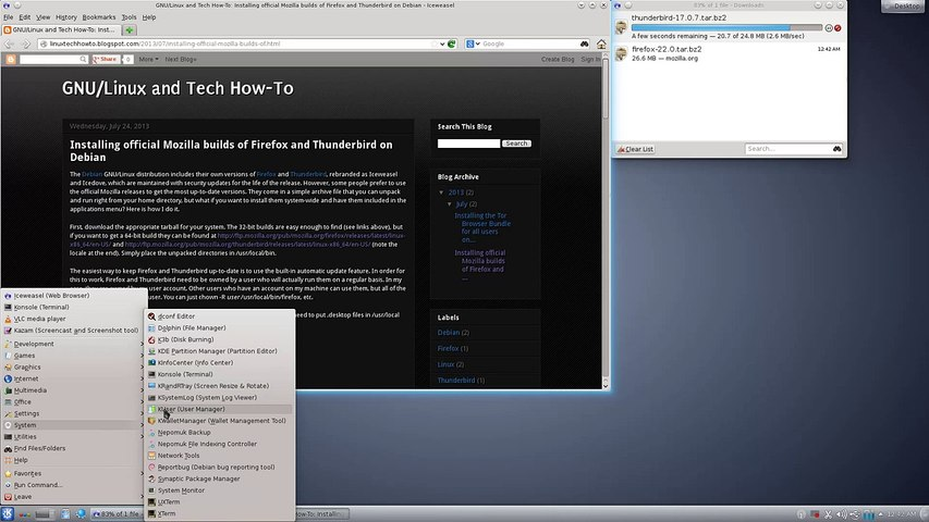 Installing Firefox and Thunderbird on Debian