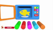 Learn Colors With Microwave and Blender Toy Appliance Play Doh Fish Mold for Children