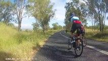 Un kangourou frappe un cycliste. Kangourou 1, cycliste 0
