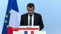 """""""C'est un triptyque qu'il nous faut savoir collectivement organiser : celui entre la République, l'identité #corse et cette nécessité d'ouverture"""", a déclaré Emmanuel Macron lors de son discours à Bastia."""