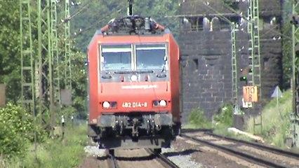 Züge Erpel-Linz am Rhein, EVG V60, CB Rail Prima, SBB Cargo Re482, 2x 151, 6x 185, 143, 4x 425