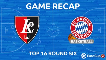 7DAYS EuroCup Highlights Top 16, Round 6: Rytas 85-87 Bayern