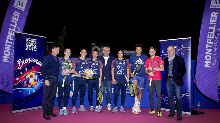 OSDF18  - Jo-Wilfried Tsonga et David Goffin rencontrent les footballeuses du MHSC et jouent au Tennis-Ballon