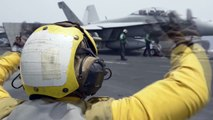 US Aircraft Almost Crash by Falling From Aircaft Carrier- US Navy E-2C- F-A-18-Etc... in Action