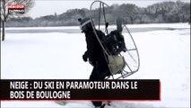 70km/h à ski en paramoteur au bois de Boulogne