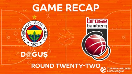 EuroLeague 2017-18 Highlights Regular Season Round 22 video: Fenerbahce 77-69 Bamberg