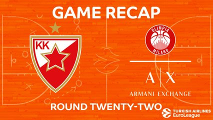EuroLeague 2017-18 Highlights Regular Season Round 22 video: Zvezda 100-89 AX Milan