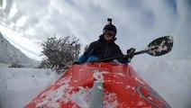 Guy Goes Snow Kayaking Down Mountain