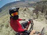 Mountain Bikers Ride Through Treacherous Path