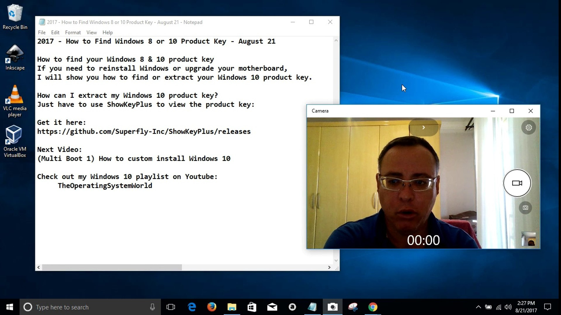 2017 - How to Find Windows 8 or 10 Product Key - August 21
