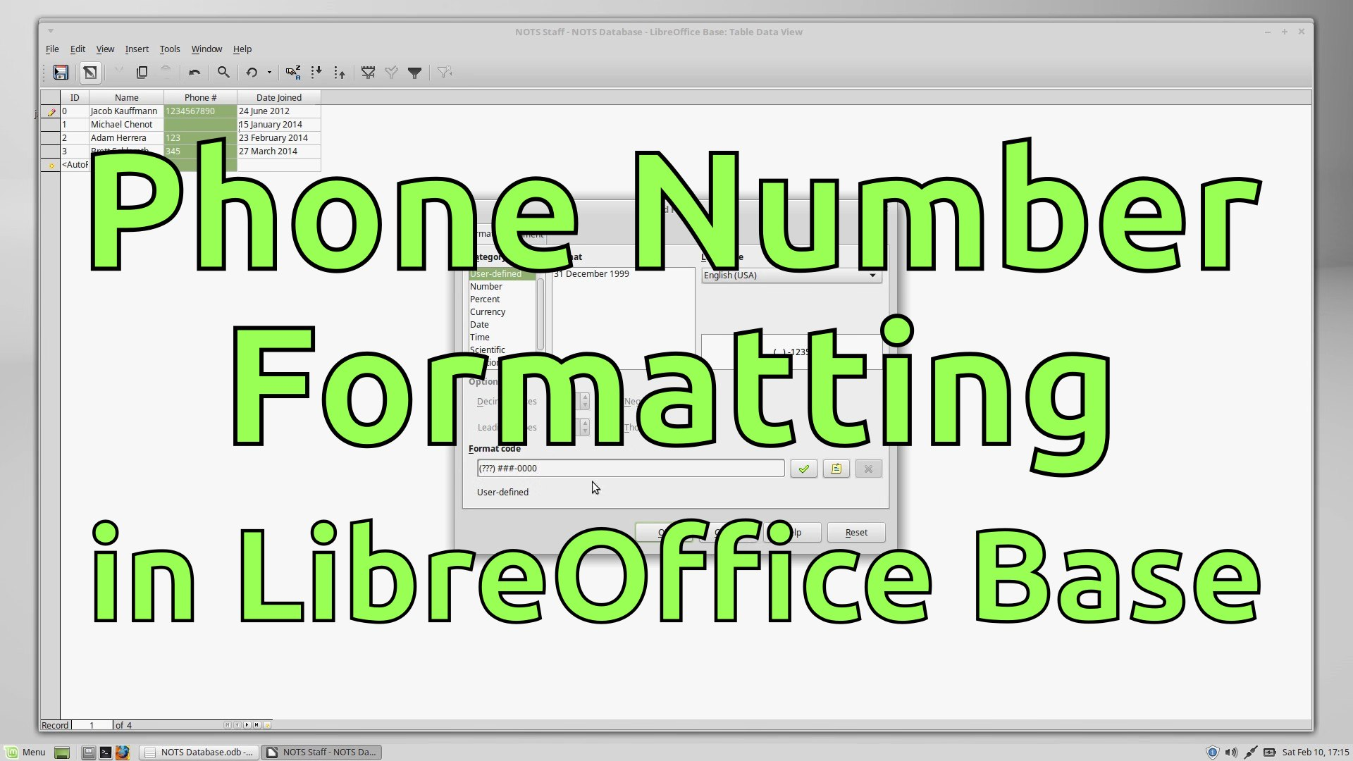 Formatting Phone Numbers - LibreOffice Base