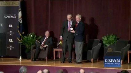 Senate Minority Leader Chuck Schumer and Senate Majority Leader Mitch McConnell spar over bourbon