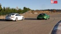 VÍDEO: Mercedes-AMG GT R contra Porsche 911 GT3, ¡en circuito!