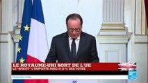 BREXIT - Le Royaume-Uni sort de l'UE : Retrouvez l'intervention de François Hollande