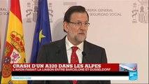 """""""Nous sommes face à une grande tragédie"""", Mariano Rajoy, premier ministre espagnol - Crash A320"""