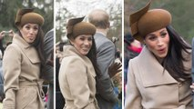Playful Meghan pokes out her TONGUE in front of adoring crowds as she and pregnant Kate stroll side-by-side while the Royals attend church on Christmas Day.Prince Harry,Prince William
