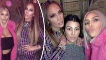 'Taco Wednesday at Jennifer Lopez and Alex's house!' Busty Kim Kardashian sizzles in tiny bandeau top as she joins Jennifer Lopez and sister Kourtney at celeb-studded gathering.