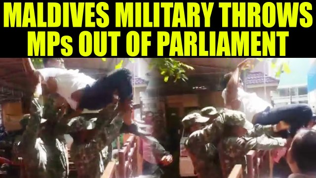 Maldives crisis : Military throws MPs outside the Parliament building, Watch video | Oneindia News
