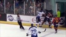 Un joueur de hockey met une grosse baffe à un supporter adverse