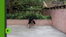 Ce maître de kung-fu fait des exercices sur deux doigts !