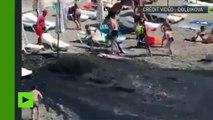 Evacuation soudaine d'eaux usées sur une plage de la mer Noire près de Sotchi