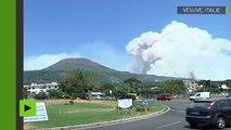 Incendie au mont Vésuve, les pompiers luttent contre les flammes