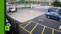 Etats-Unis : images insolites d'une jeune femme... qui ne se laisse pas voler sa voiture !