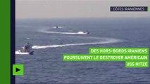 Des hors-bords iraniens à la poursuite d'un destroyer américain